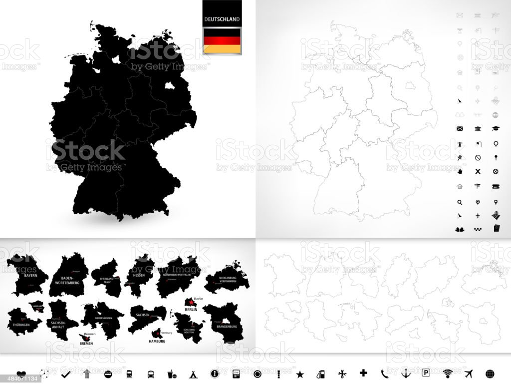 Blank map of Germany vector art illustration