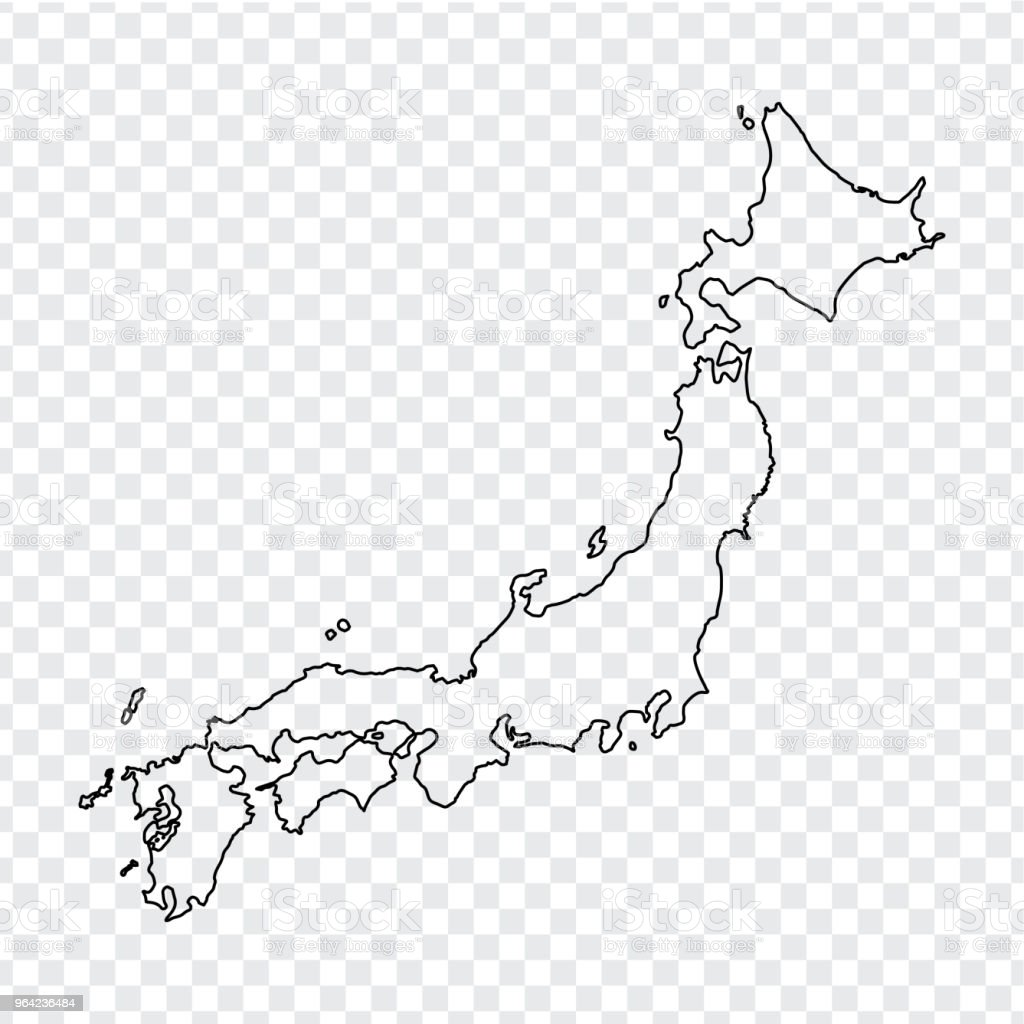 Blank Map Of Japan Thin Line Japan Map On A Transparent Background ...