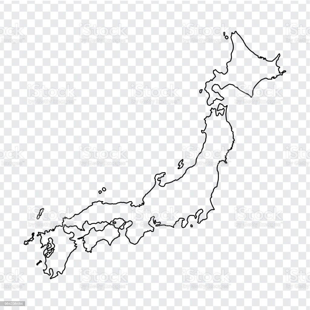 日本の白地図透明な背景に細い線日本地図株式ベクトルフラットなデザイン