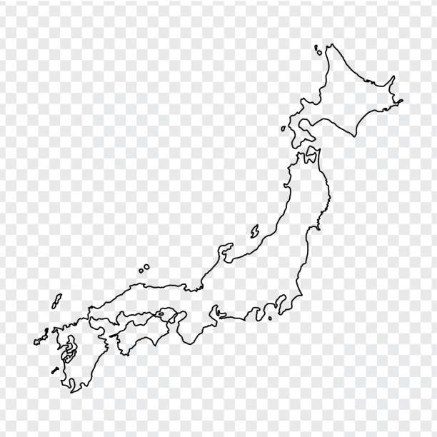 日本の白地図。透明な背景に細い線日本地図。株式ベクトル。フラットなデザイン。 - 日本 地図点のイラスト素材/クリップアート素材/マンガ素材/アイコン素材