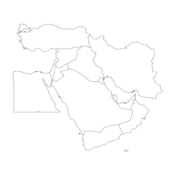 Blank map of Middle East, or Near East. Simple flat outline vector ilustration vector art illustration