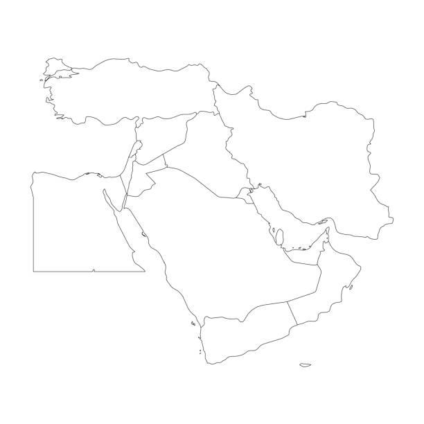 中東、または近東の白地図。シンプルなフラット アウトライン ベクトル小話 - 中東の地図点のイラスト素材/クリップアート素材/マンガ素材/アイコン素材