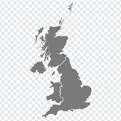 istock Blank map of United Kingdom. High quality map of  Great Britain with provinces on transparent background for your web site design, logo, app, UI. UK. EPS10. 1188372232
