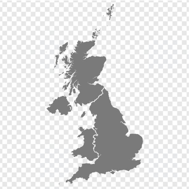 ilustrações, clipart, desenhos animados e ícones de mapa em branco do reino unido. mapa de alta qualidade da grã-bretanha com províncias em fundo transparente para o design do seu site, logotipo, aplicativo, ui. reino unido. o eps10. - reino unido