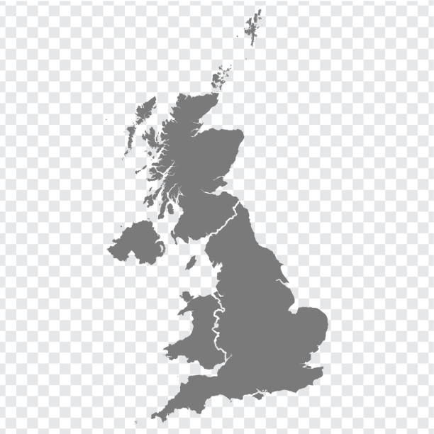 blank map of united kingdom. high quality map of  great britain with provinces on transparent background for your web site design, logo, app, ui. uk. eps10. - zjednoczone królestwo stock illustrations