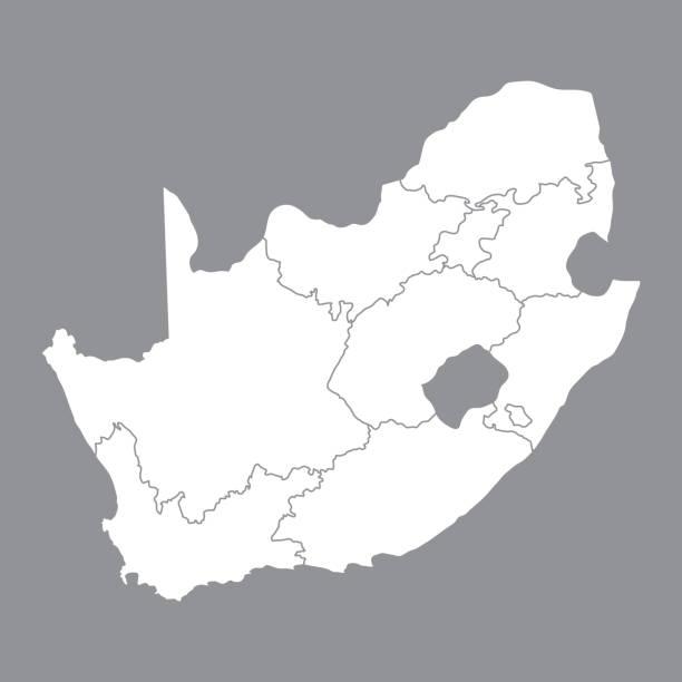 bildbanksillustrationer, clip art samt tecknat material och ikoner med tom karta sydafrika. hög kvalitet karta över sydafrika med provinserna på grå bakgrund. lager vektor. vektorillustration eps10. - south africa