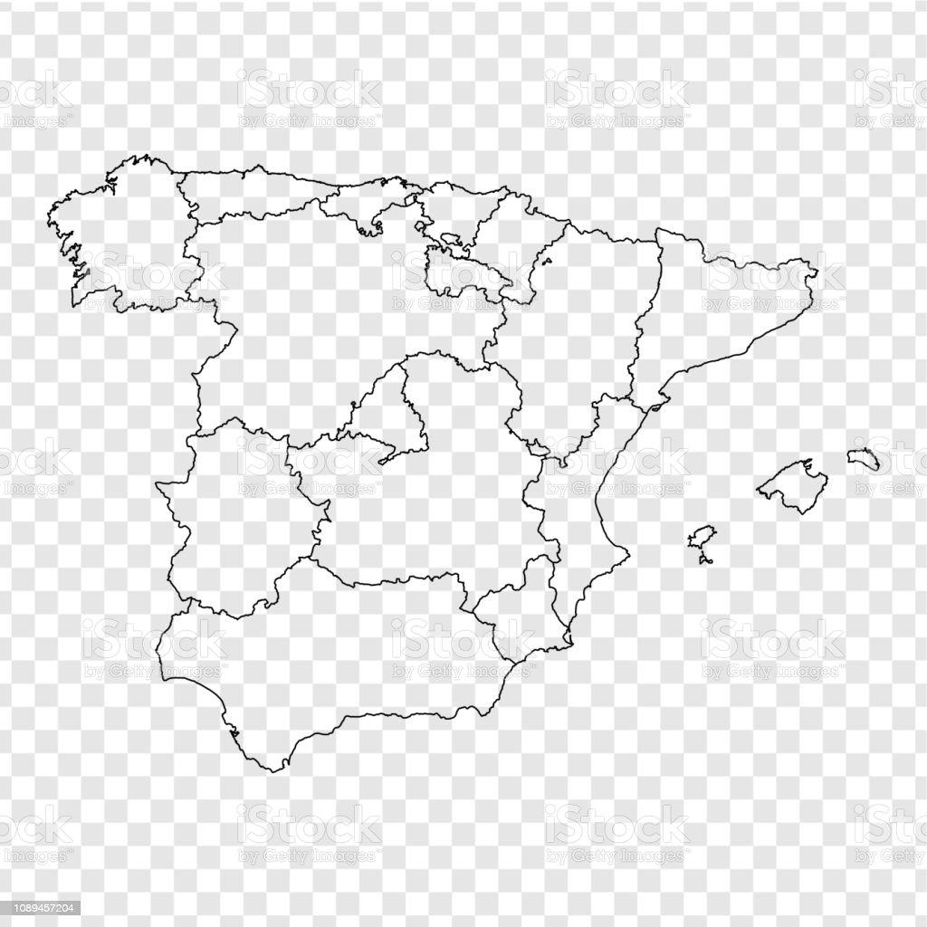 Mapa España Provincias Blanco.Ilustracion De Mapa En Blanco De Espana Alta Calidad Mapa De