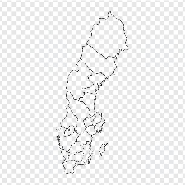 bildbanksillustrationer, clip art samt tecknat material och ikoner med tom karta sverige. hög kvalitet karta över sverige med provinser på transparent bakgrund för din webbdesign, logotyp, app, ui. lager vektor. vektorillustration eps10. - sweden map
