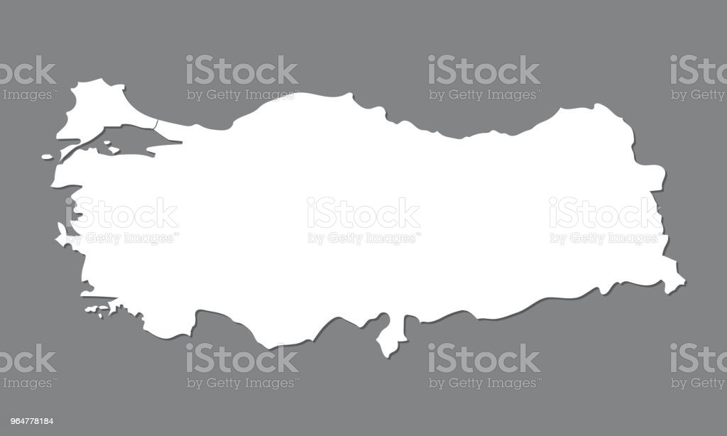 Blank map Turkey. High quality map of Turkey with Bosporus on gray background. Stock vector. Vector illustration EPS10. royalty-free blank map turkey high quality map of turkey with bosporus on gray background stock vector vector illustration eps10 stock illustration - download image now