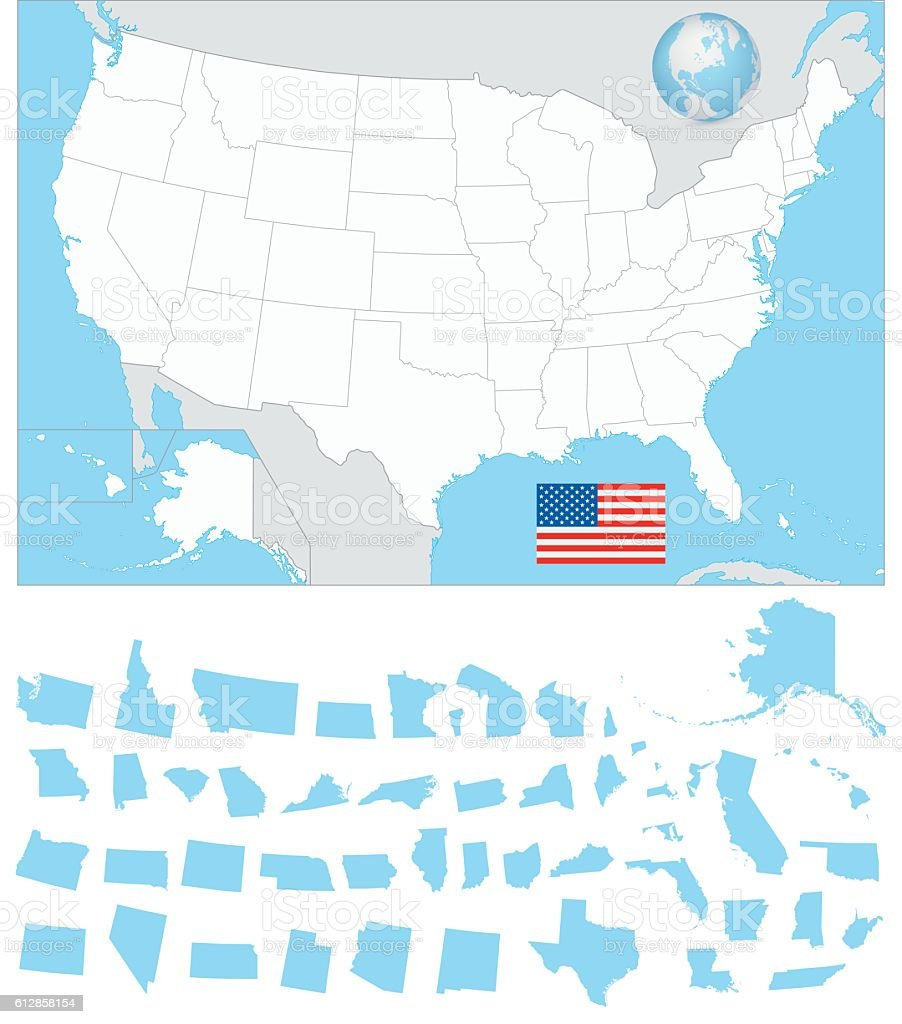 Usa Blank Map With Its Separated States Stock Vector Art More - Us-map-separated-by-region