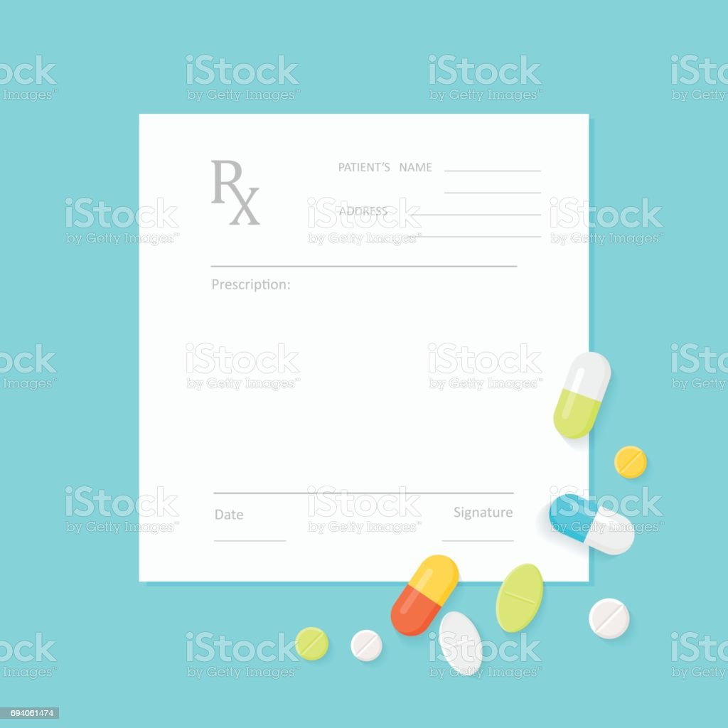 Blank Medicine Prescription Form And Pills Royalty Free Stock