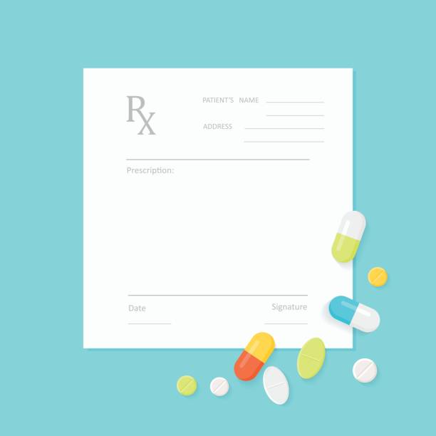 illustrazioni stock, clip art, cartoni animati e icone di tendenza di blank medicine prescription form and pills - prescrizione medica