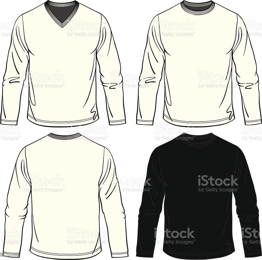 Blank Men's Long Sleeve Tees royalty-free blank mens long sleeve tees stock vector art & more images of adult