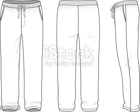 Blank Mens Sweatpants Stock Vector Art Amp More Images Of