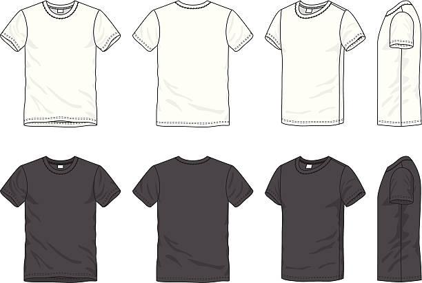 stockillustraties, clipart, cartoons en iconen met blank men's t-shirt - korte mouwen