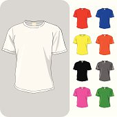 A vector illustration of a blank t-shirt with various color