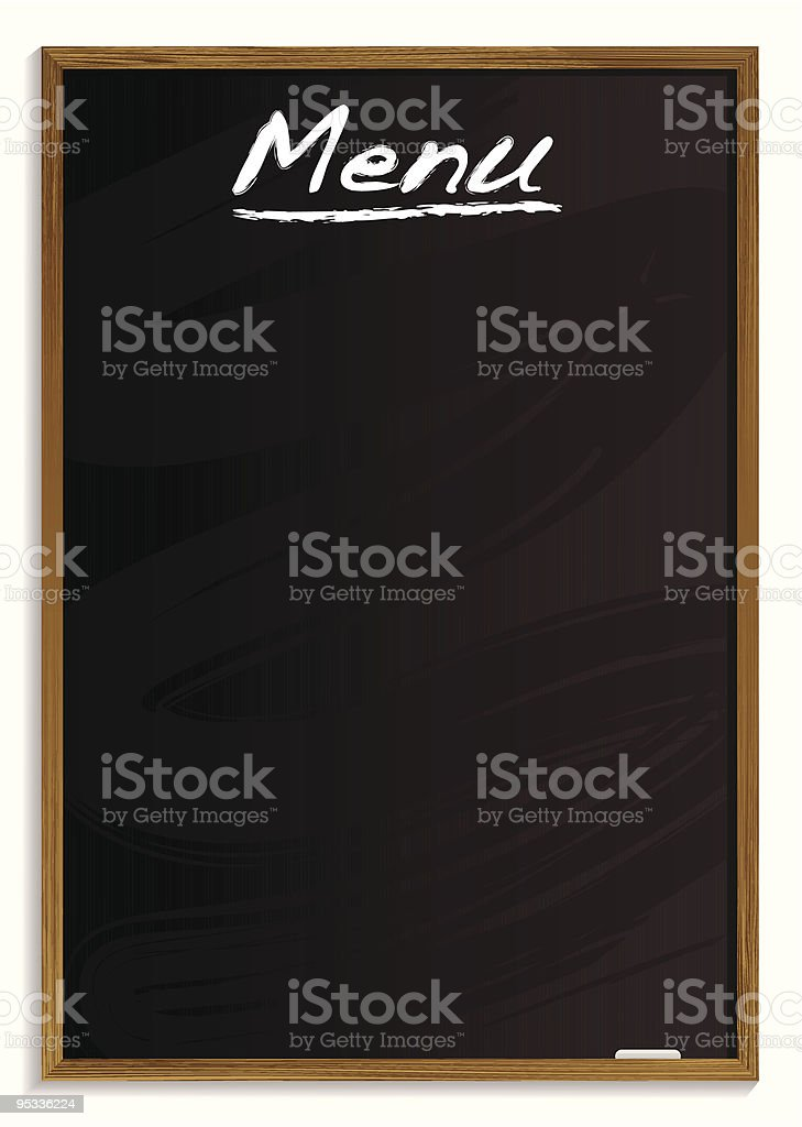 Blank menu blackboard on white background royalty-free stock vector art
