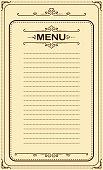 drawing of vector blank menu.EPS10 format recording.