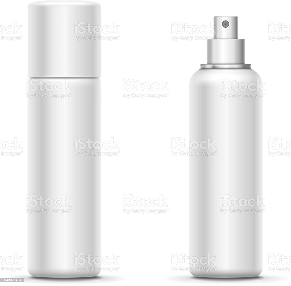Blank Metal Bottle With Sprayer Cap Cosmetic Deodorant Template Or Freshener Vector Royalty