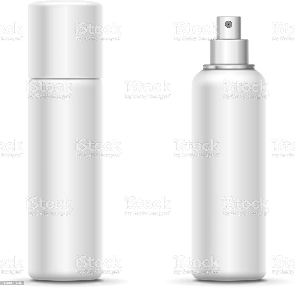Blank metal bottle with sprayer cap. Cosmetic deodorant template or freshener. Vector vector art illustration
