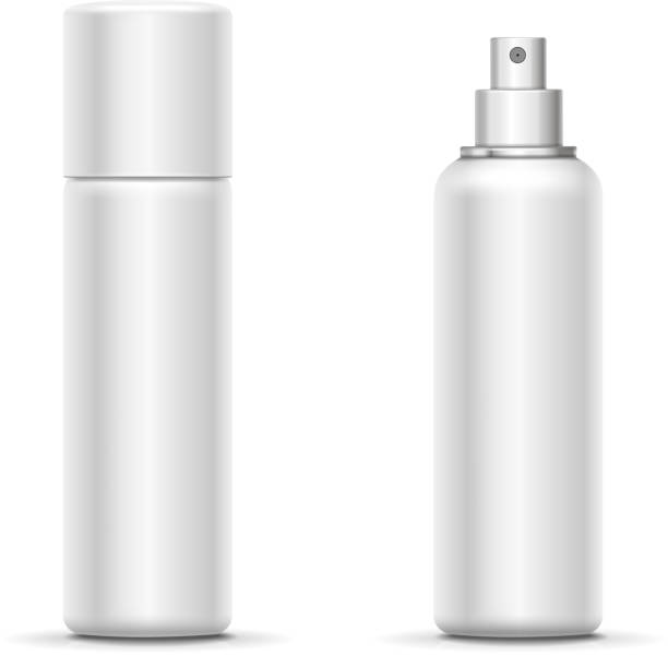 Blank metal bottle with sprayer cap. Cosmetic deodorant template or freshener. Vector Blank metal bottle with sprayer cap. Cosmetic deodorant template or freshener. Vector. aerosol can stock illustrations