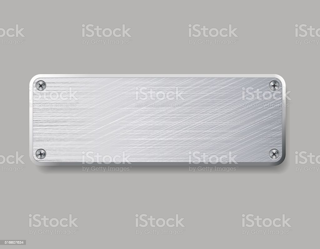 Blank metal plate isolated on gray background. vector art illustration