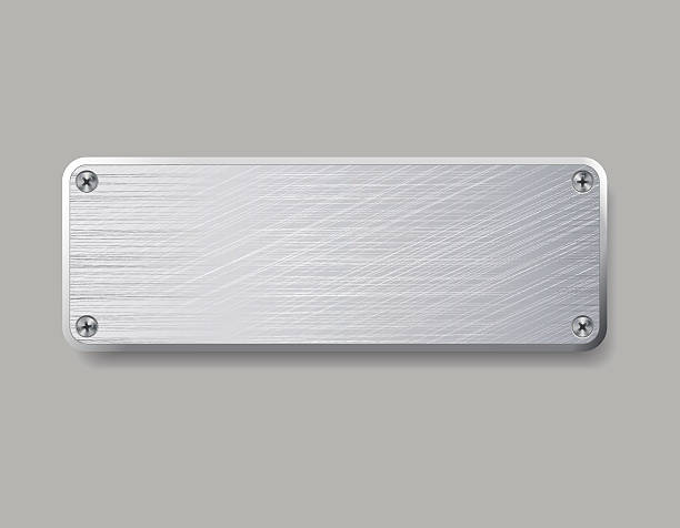 Blanc plaque métallique seul sur fond gris. - Illustration vectorielle