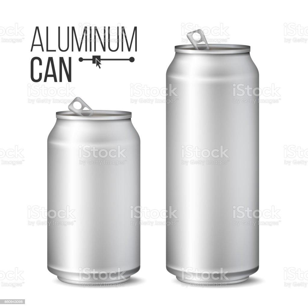 Lege metalen kunt Vector. Zilveren Can. 3D verpakking. Mock Up metalen blikjes voor bier of frisdrank. 500 en 300 ml. geïsoleerd op witte afbeeldingvectorkunst illustratie