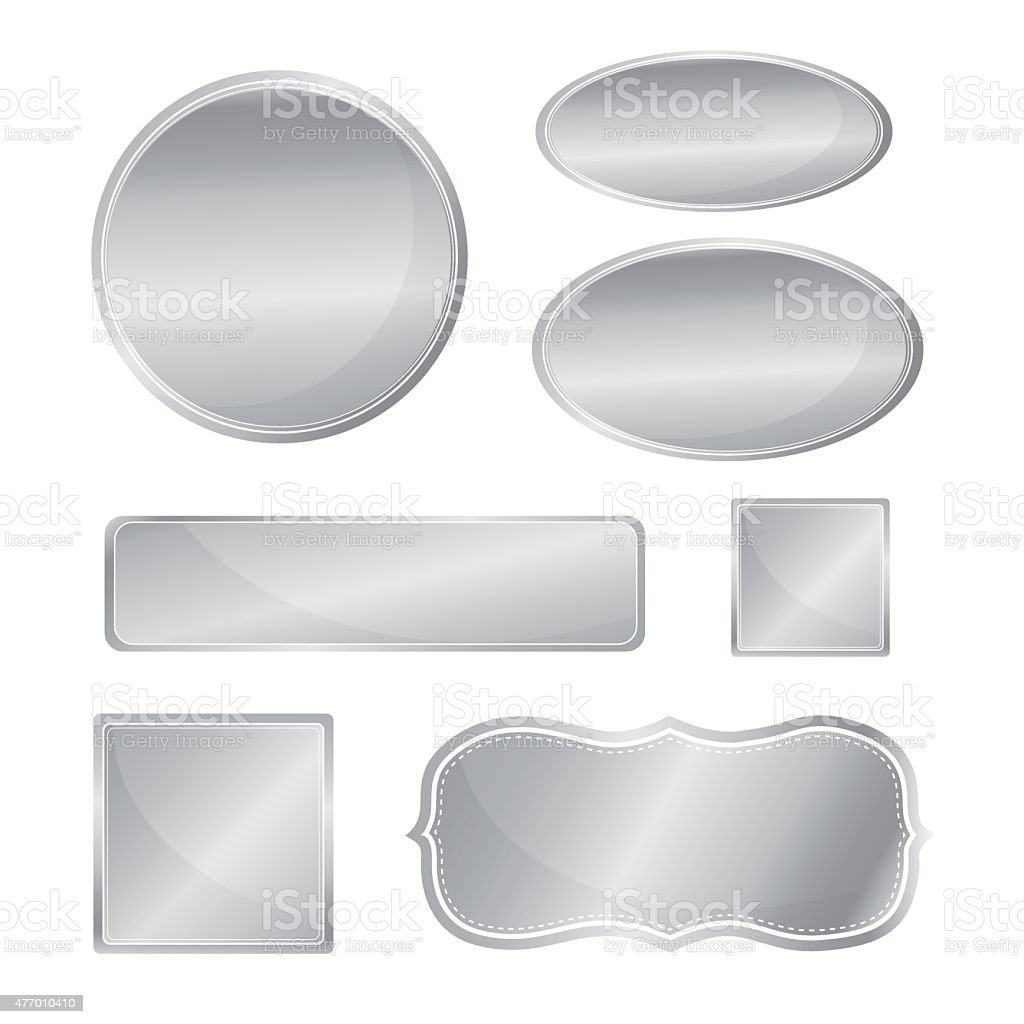 Blank metallic icon set silver color vector art illustration