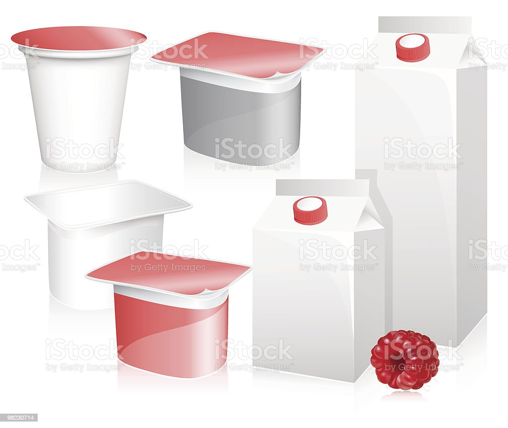 Blank milk and yoghurt packs with photo-realistic ripe raspberry. royalty-free blank milk and yoghurt packs with photorealistic ripe raspberry stock vector art & more images of berry fruit
