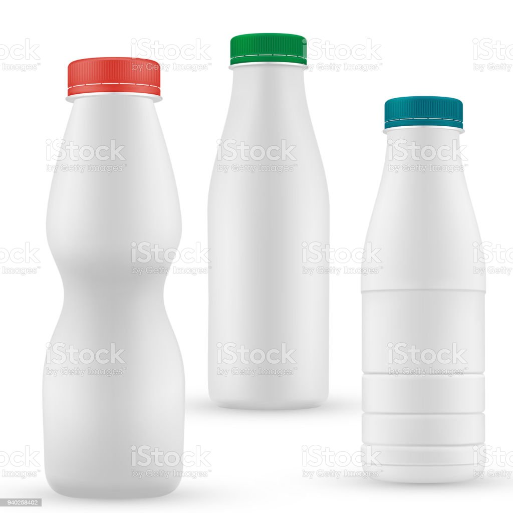 Blank Milk Or Yoghurt White Bottle With Screw Cap Vector Template Set Royalty Free