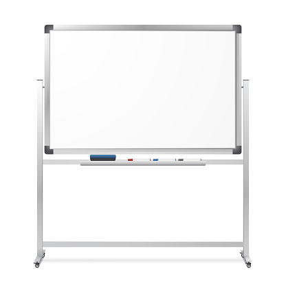 Blank mobile dry erase magnetic whiteboard isolated on white background. Realistic portable board with rolling stand. The eraser and black, red and blue markers. Vector illustration