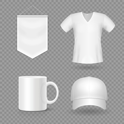 Blank mock-up promotional gifts. Realistic 3d cap, mug, t-shirt and flag