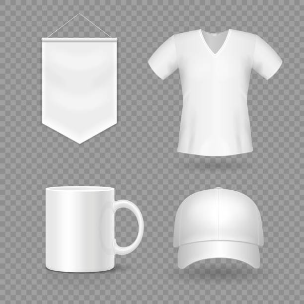 Blank mock-up promotional gifts. Realistic 3d cap, mug, t-shirt and flag Blank mock-up promotional gifts. Realistic 3d cap, mug, t-shirt and flag. silk screen stock illustrations