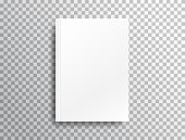 Blank mockup with shadow on transparent background. White realistic brochure A4 for presentation. Notebook with place for text. Closed vertical book, magazine mockup with top view. Vector illustration.