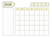 Blank Monthly Planner with grid and note in yellow and white template