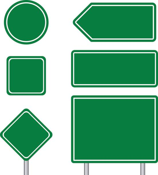 Blank multiple size of blue transportation sign set with pole vector art illustration
