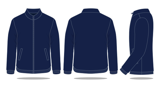 Blank Navy Blue Jacket Vector For Template