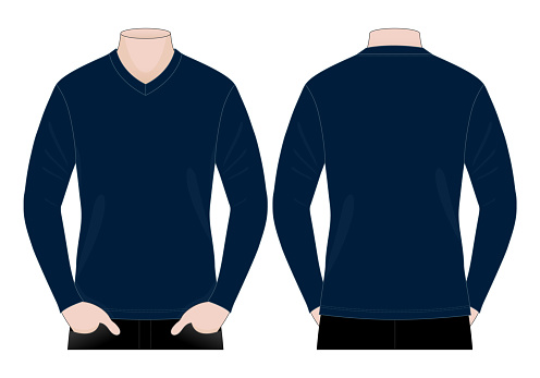 Blank Navy Blue Long Sleeve T-Shirt Template Vector on White Background