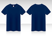 Blank Navy Blue T-Shirt Vector For Template
