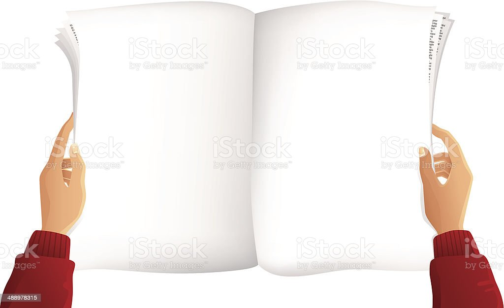 Blank newspaper and hands royalty-free stock vector art