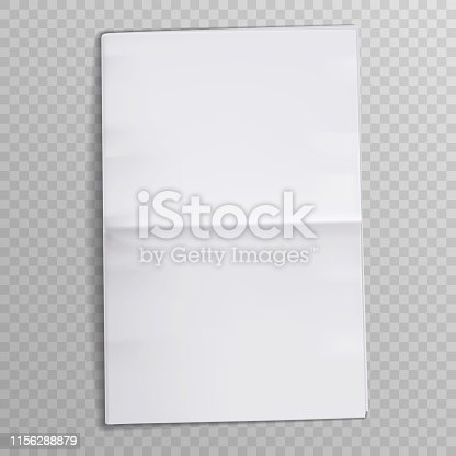 Blank newspaper sheet. Tabloid newsprint magazine. Media newspaper open pages. Daily press empty paper journal vector mockup