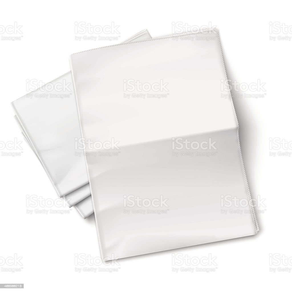 Blank newspapers pile on white background. vector art illustration