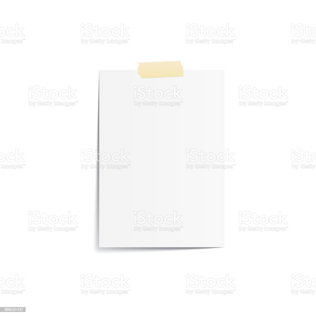 Blank Note pad with tape mockup vector on white background. Mockup concept vector art illustration