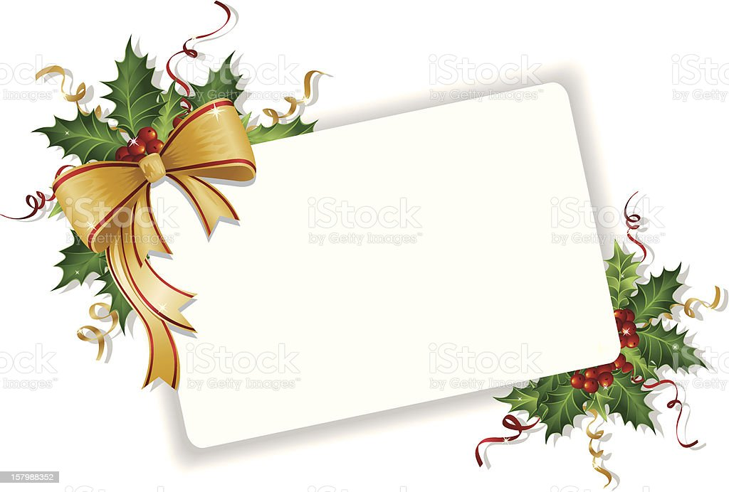 Blank Note with Holly and Ribbon royalty-free stock vector art