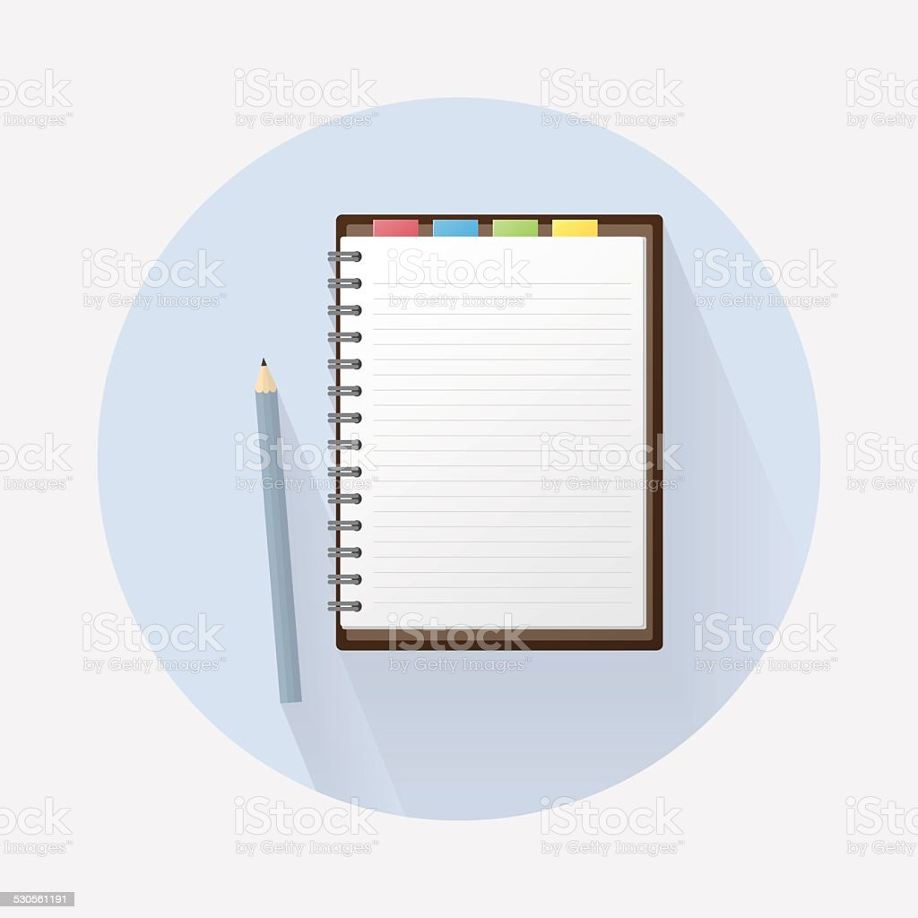 Blank Notebook and Pencil on Circle Background vector art illustration