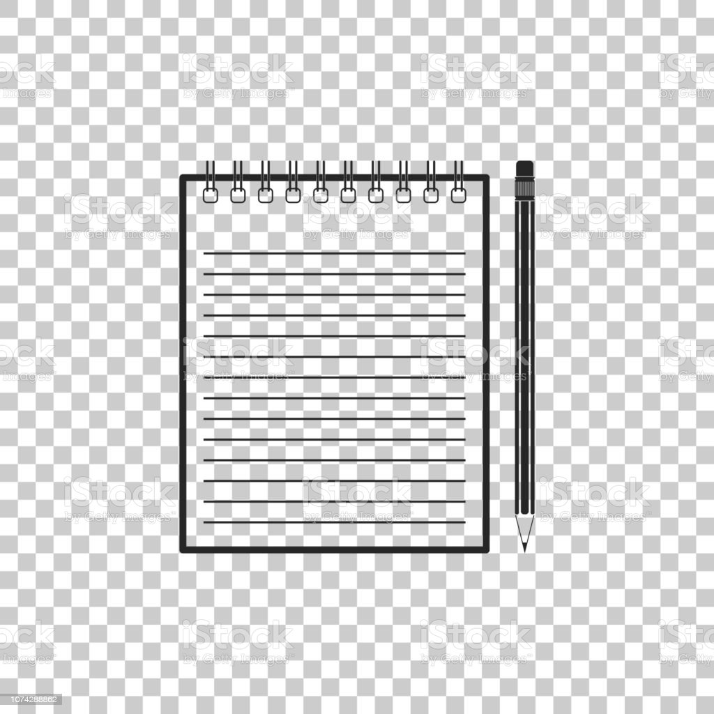 Blank Notebook And Pencil With Eraser Icon Isolated On Transparent