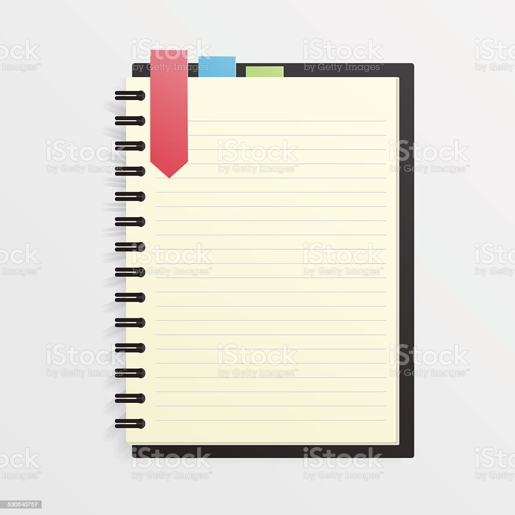 Blank Notebook with Bookmark, Ring Binder vector art illustration
