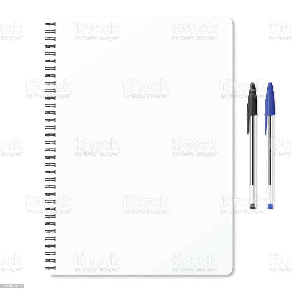 Blank notepad with ballpoint pens on white background - ilustración de arte vectorial