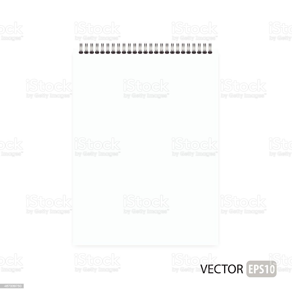 A blank notepad with spiral on top vector art illustration